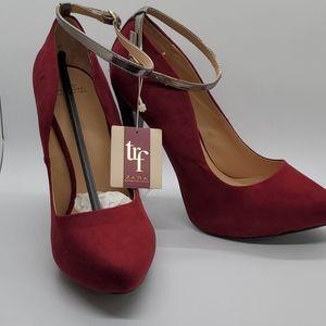 NW Zara Red Suede Pumps Black Heels Ankle Strap